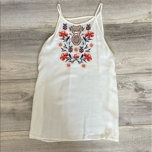 Floral Embroidered White Tank Top- Size Small